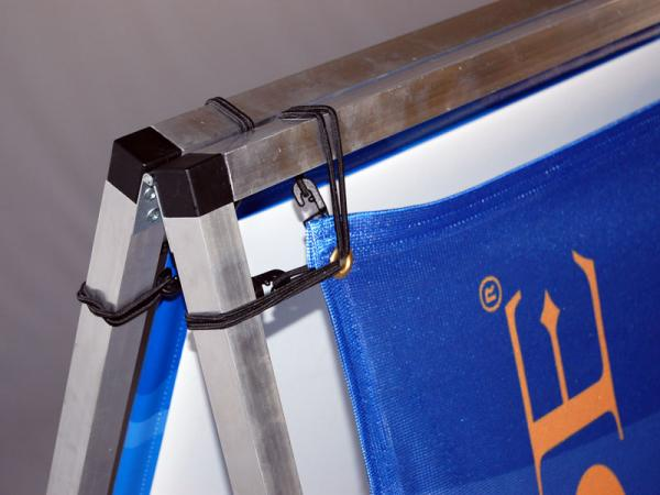 BaseLine a-frame - close up of corner showing bungee attached graphic