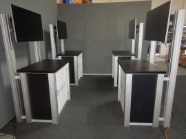 RENTAL: (4) RE-1232 Counter Kiosks with Large Monitor Mounts and Supports, (4) 42� Monitors, and Sintra Infill Graphics