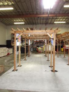 Custom Wood Pergolas with Double-sided LED Lightboxes and Wire Management